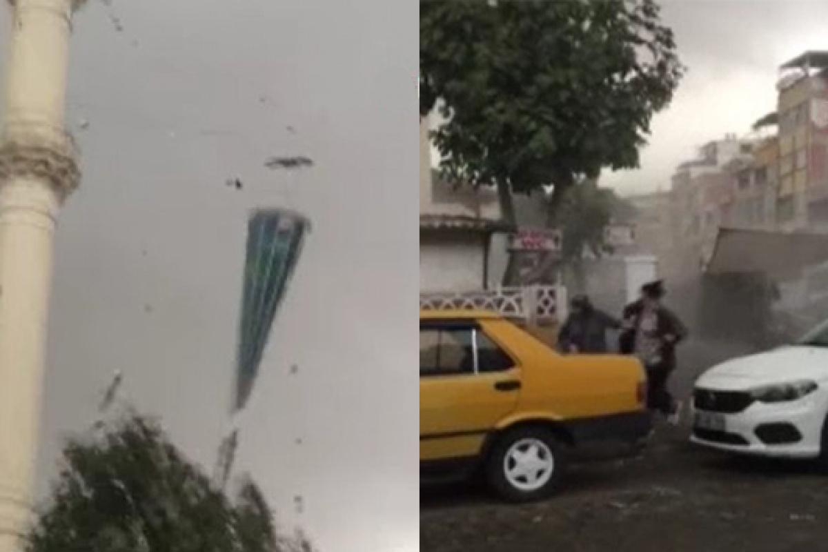 Fırtına minareyi böyle yıktı, insanlar saniyelerle kurtuldular