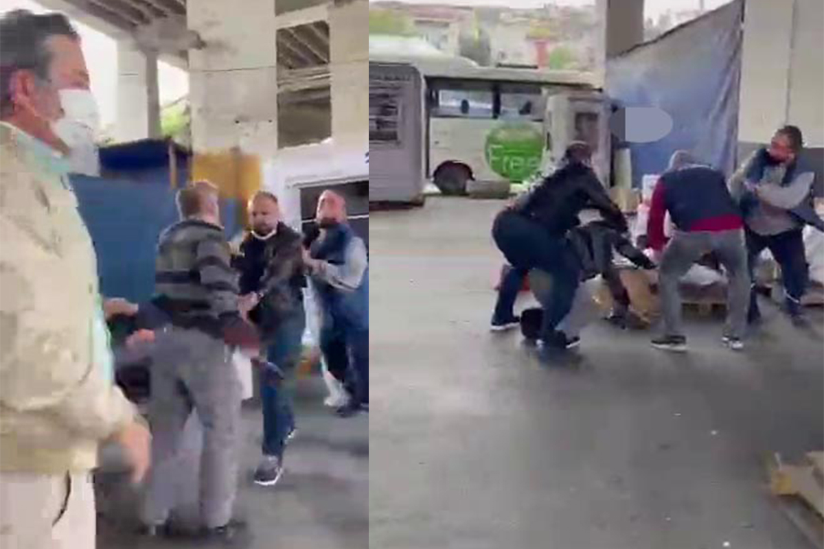 15 Temmuz Demokrasi Otogarı'nda müşteri ile kargocu kavgası kamerada